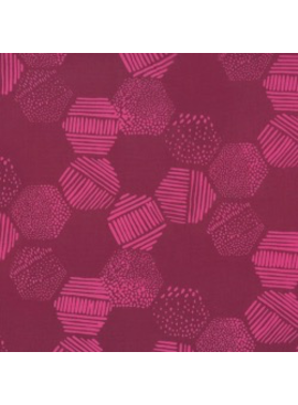 Hoffman Fabrics Me + You Hand Dyed Batiks Hexagons Burgundy