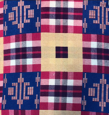 AKN Fabrics Woven African Kente Cloth Red/White/Navy Plaid, Royal and Tan
