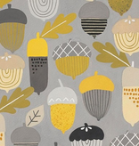Alexander Henry Autumn Acorn Grey Gold by Alexander Henry