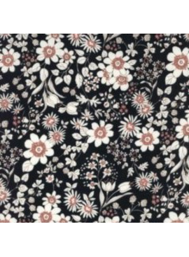 Kokka Kokka Natural Dress Black Floral Double Gauze