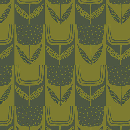Andover Perennial by Sarah Golden Patchwork Tulips Olive