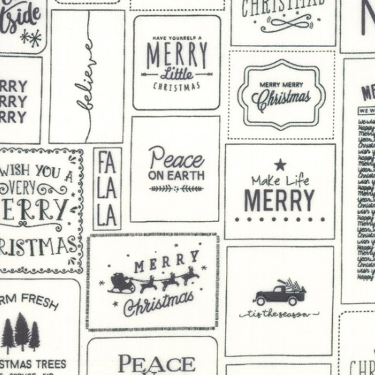 Moda The Christmas Card Sweetwater Cream and Charcoal