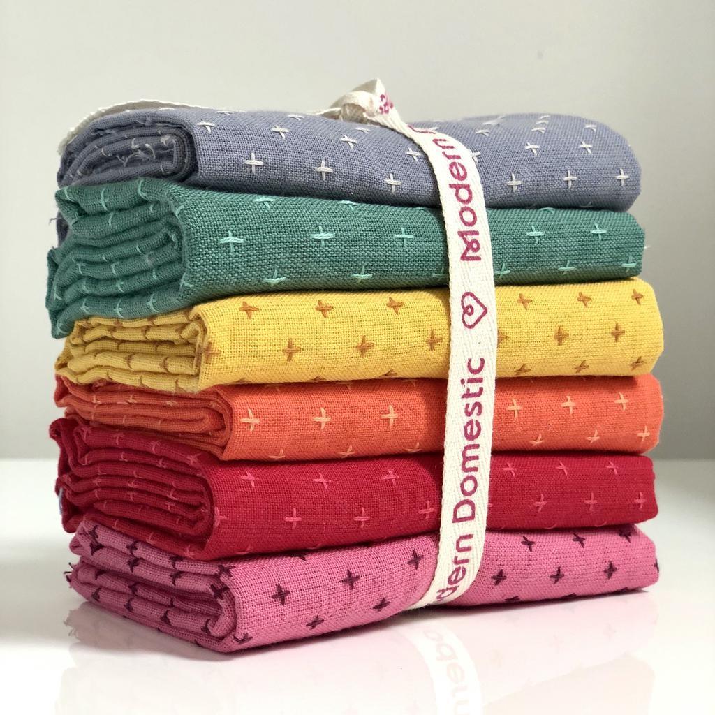 Modern Domestic Diamond Textile Fat Quarter Bundle Six-Piece Color DAY