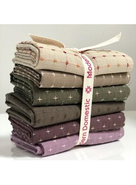 Modern Domestic Diamond Textile Fat Quarter Bundle Six-Piece Color NIGHT
