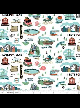 Riley Blake I Love Portland, Oregon White by Riley Blake