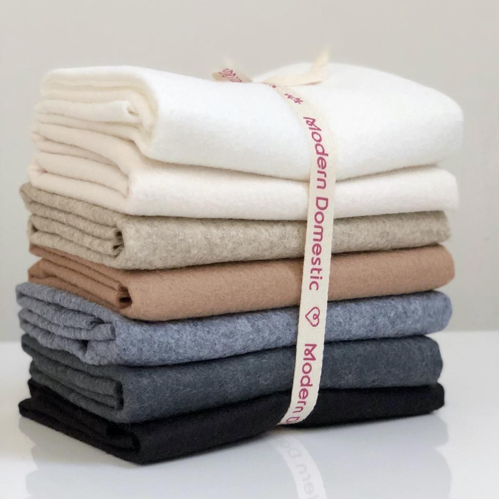 National Nonwovens Wool Felt Fat Quarter Bundle  FQ (7 Piece) - Neutrals