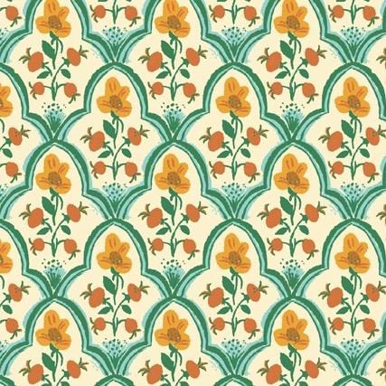 Windham Fabrics Malibu by Heather Ross Wood Block Ocean