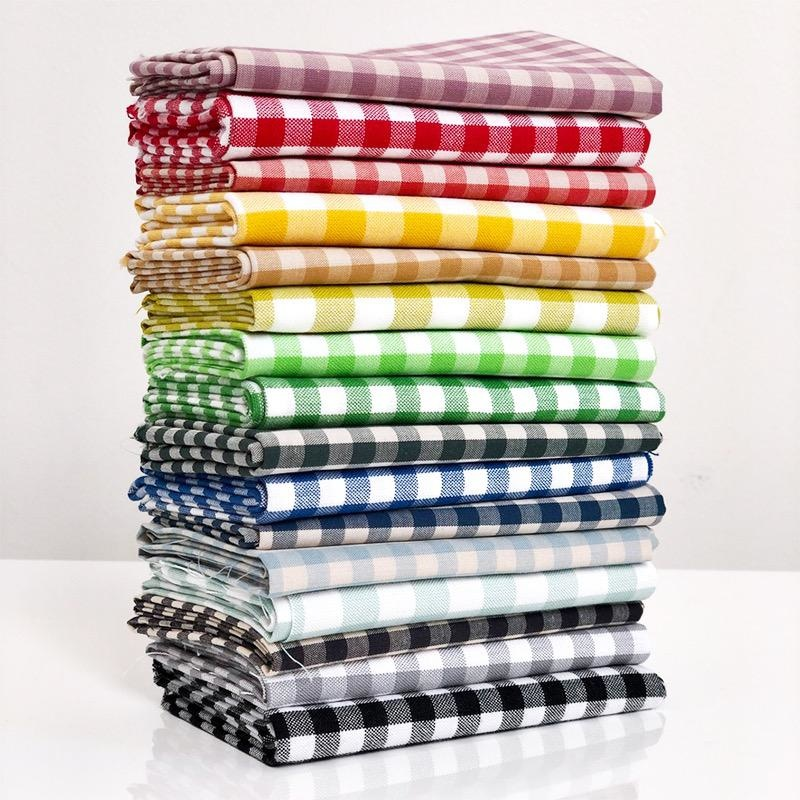 Modern Domestic Woven Cotton Gingham Fat Quarter Bundle - 16pc