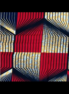 Fabrics USA Inc Ankara Wax Print- Striped Hexagons Red Whie and Blue
