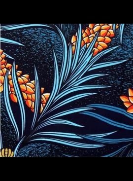 Fabrics USA Inc Ankara Wax Print- Uni-Holland Wax Dark Blue Orange White Turquoise Tropical Flowers