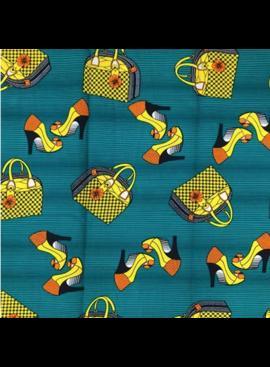 Fabrics USA Inc Ankara Wax Print— Hand Bags and Heels—Yellow and orange on teal