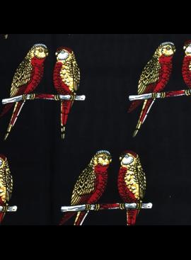 Fabrics USA Inc Ankara Wax Print— large red and yellow parakeets on black
