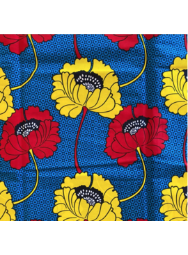Fabrics USA Inc Ankara Wax Print— Large yellow and red poppies on blue background