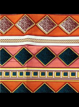 Fabrics USA Inc Ankara Wax Print— Orange and Pink Diamond Stripes