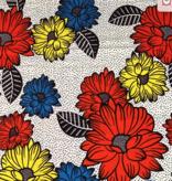 Fabrics USA Inc Ankara Wax Print— Yellow Red and Blue Daisies on Black and White dots