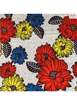 Fabrics USA Inc Ankara Wax Print— Yellow Red and Blue Daisies on Black and White dots