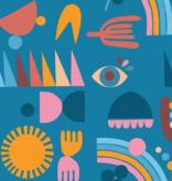 Nerida Hansen Grid Shapes Large by Lisa Congdon Linen Cotton Canvas Blue