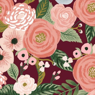 Cotton + Steel Garden Party by Rifle Paper Co. Juliet Rose Burgundy Canvas