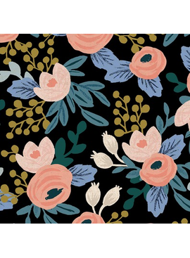 Cotton + Steel Garden Party by Rifle Paper Co. Rosa Black Unbleached Canvas