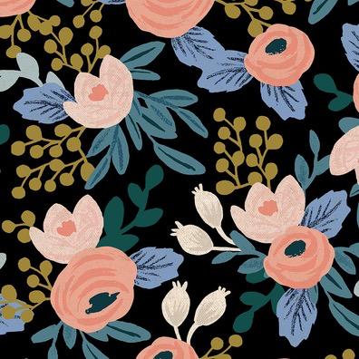 Cotton + Steel Garden Party by Rifle Paper Co. Rosa Black Unbleached Canvas