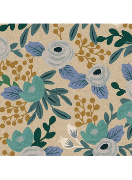 Cotton + Steel Garden Party by Rifle Paper Co. Rosa Blue Unbleached Canvas
