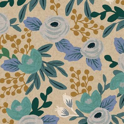 Cotton + Steel Garden Party by Rifle Paper Co. Rosa Blue Unbleached Canvas