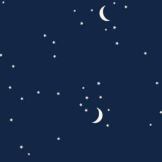 Andover Moon and Stars Navy by Andover Fabrics