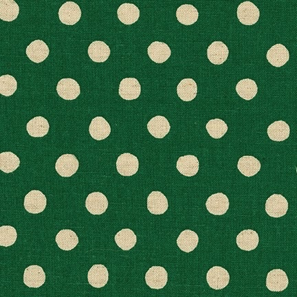 Robert Kaufman Sevenberry Canvas Natural Dots Green