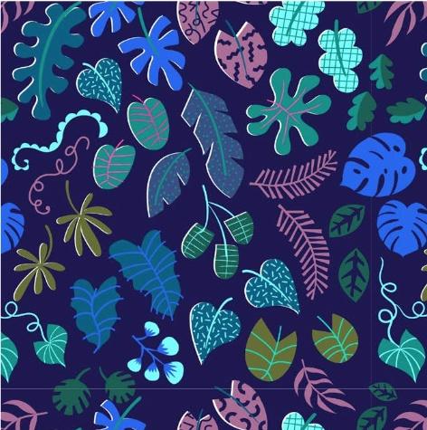 Cotton + Steel Lagoon by Rashida Coleman-Hale: Leafy Wonder Navy