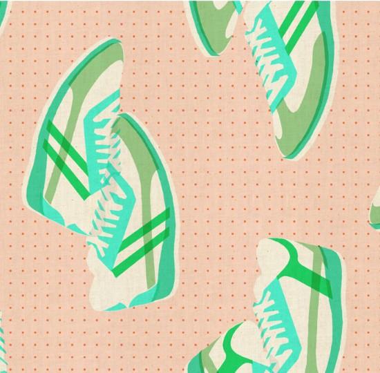Cotton + Steel Kicks by Melody Miller: Sneakers Peach
