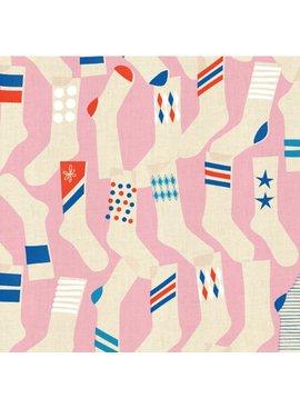 Cotton + Steel Kicks by Melody Miller: Socks Pink