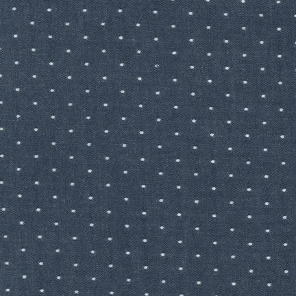 Robert Kaufman Cotton Chambray Dots Indigo