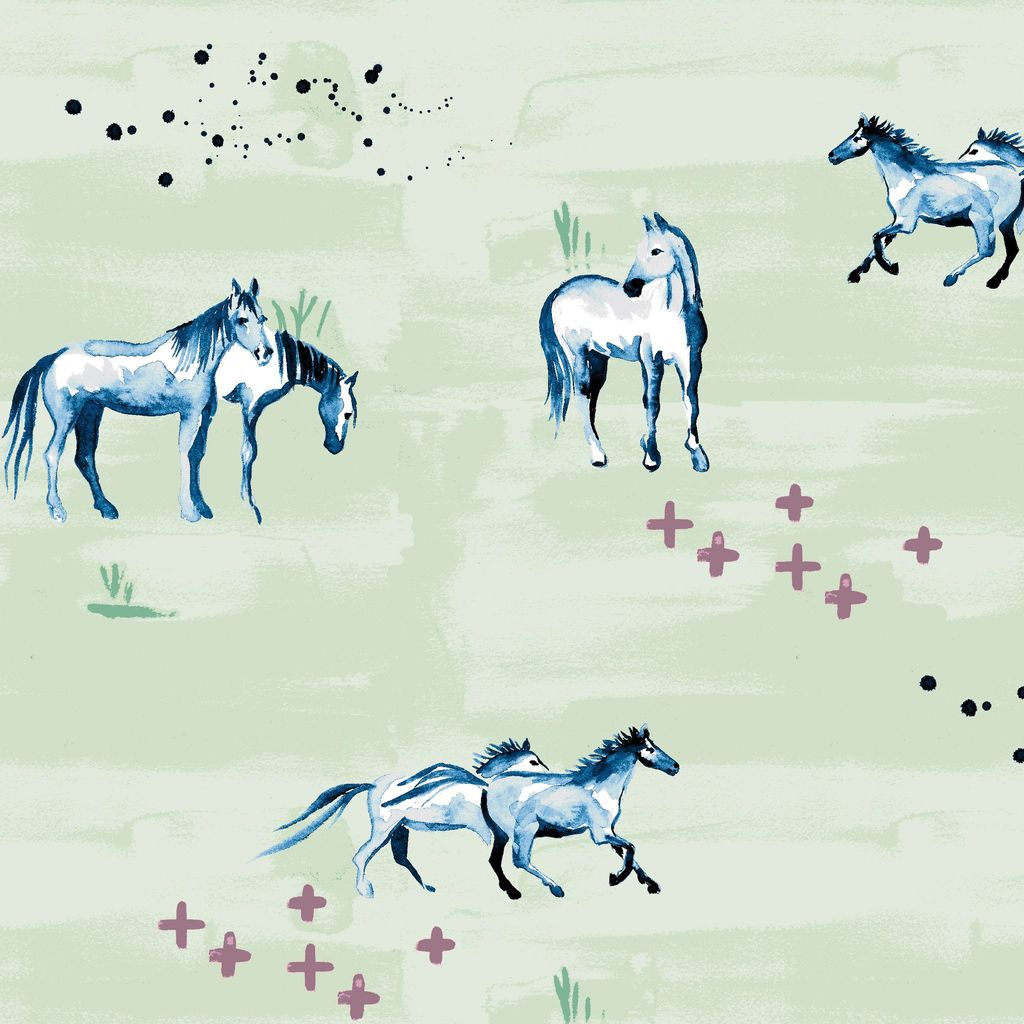 Monaluna Fabric Wanderlust by Monaluna, Wild Horses, Organic Lawn