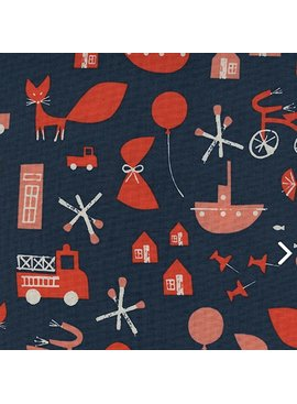 Cotton + Steel Spectacle by Christian Robinson: Commotion Navy