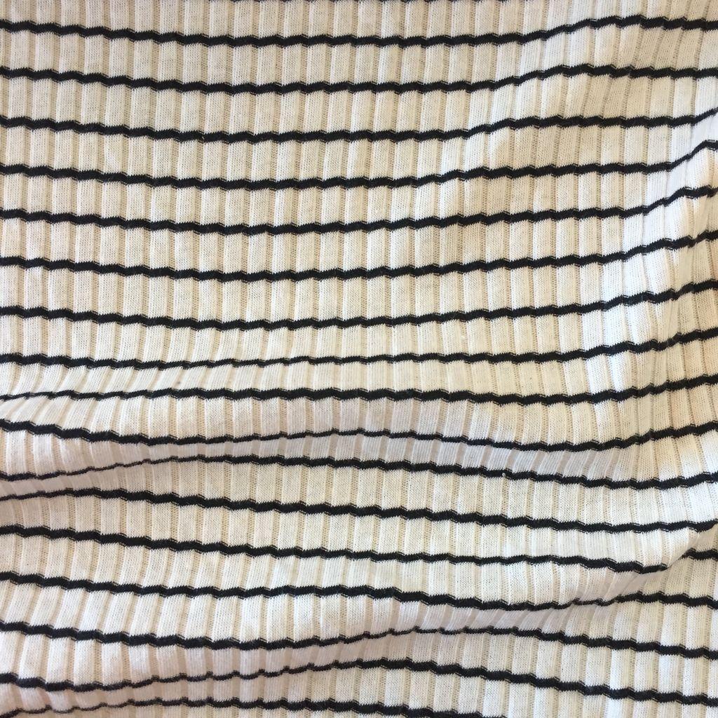 S. Rimmon & Co. Wide Rib Knit Stripe Cream/Black