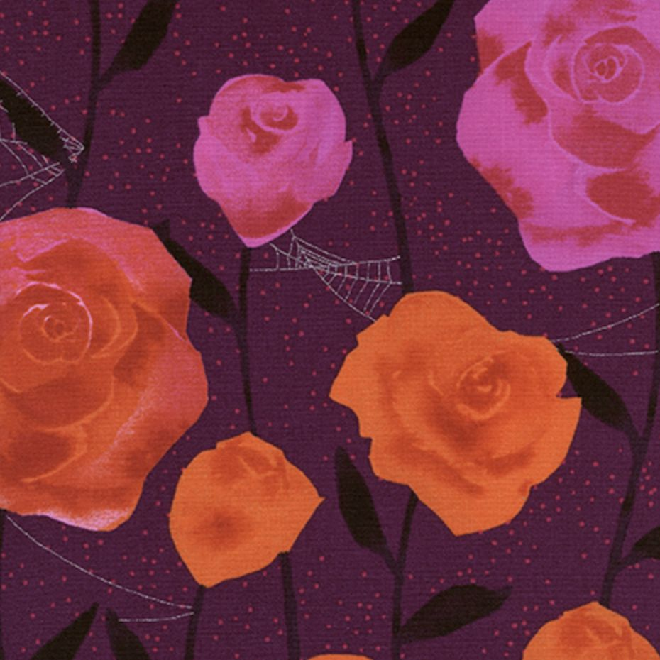 Cotton + Steel Eclipse by Cotton + Steel Roses Wine Metallic