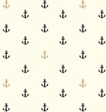 Birch Fabrics Inkwell: Little Anchors in Black/Metallic Poplin
