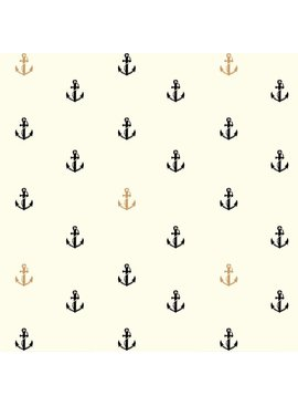 Birch Fabrics Inkwell: Little Anchors in Black/Metallic Organic Poplin