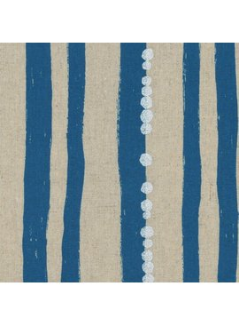 Kokka Echino Stripe Blue Metallic Cotton/Linen Canvas