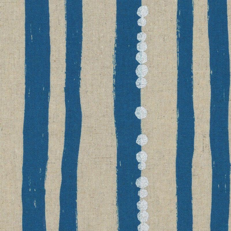 Kokka Echino Stripe Blue Metallic Cotton/Linen Canvas