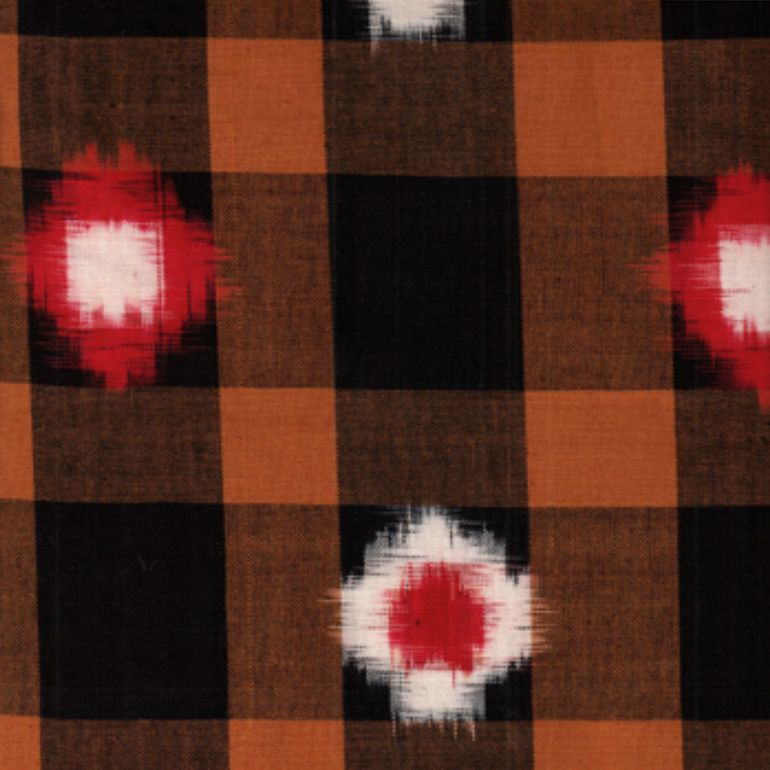 Textile Creations Dakota Ikat Tie Dye Black Copper Red White