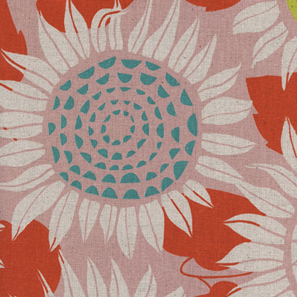 Cotton + Steel Front Yard by Sarah Watts Sunflowers Pink Canvas