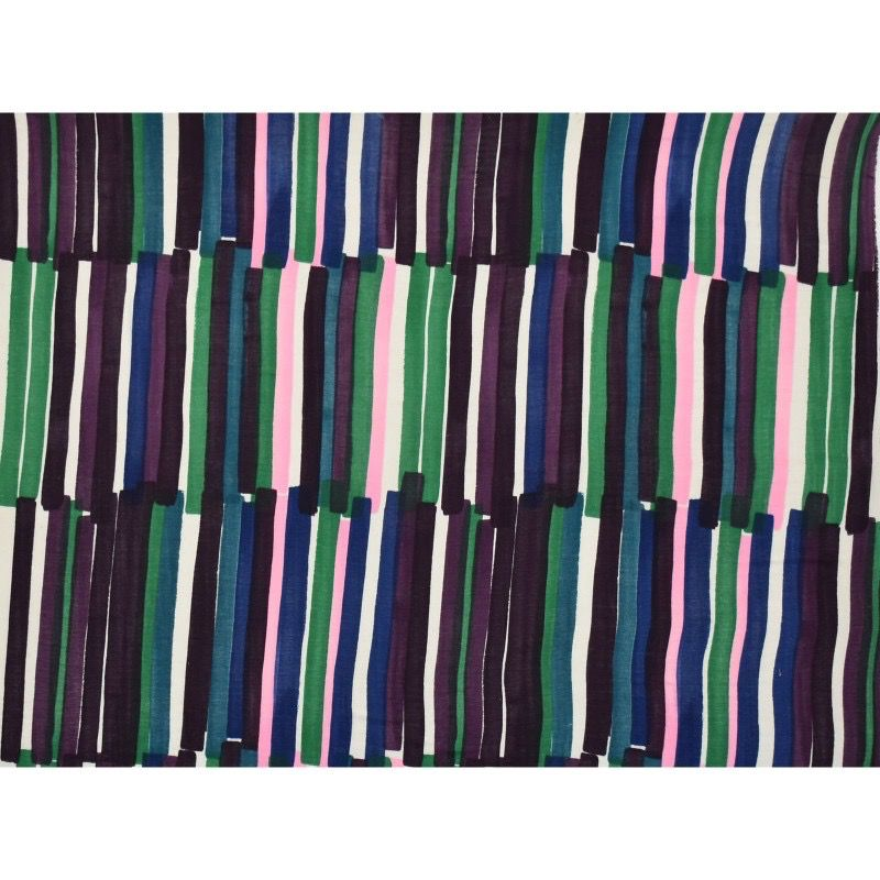 EE Schenck Nani Iro Double Gauze: Grace Stripes Green/Purple 100% Cotton