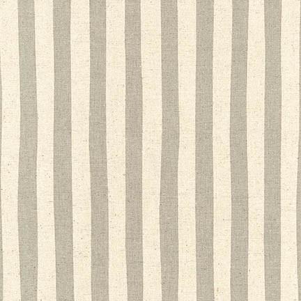 Robert Kaufman Sevenberry: Canvas Natural Stripes Grey