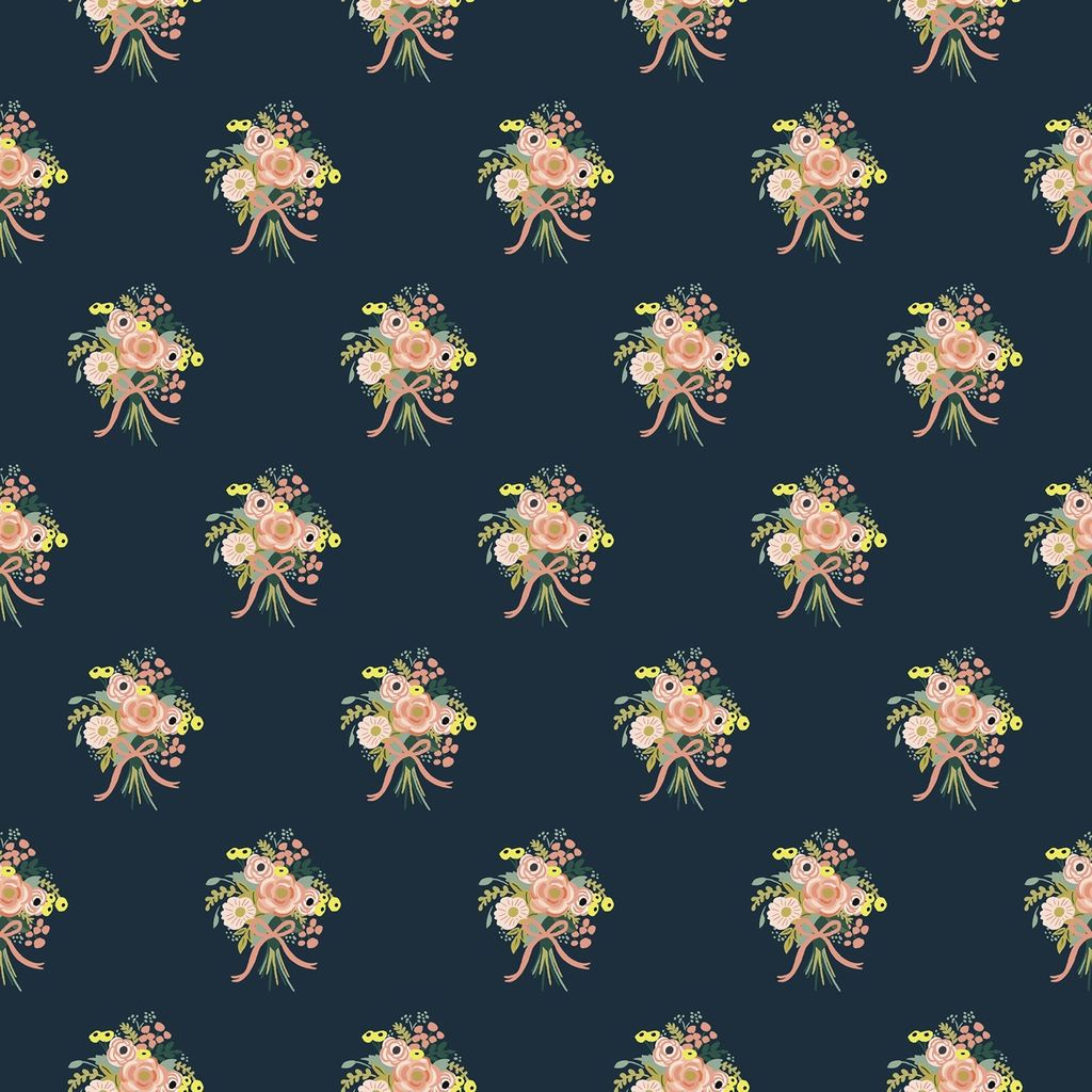 Cotton + Steel English Garden by Cotton + Steel/Rifle Paper Co. Bouquets Navy