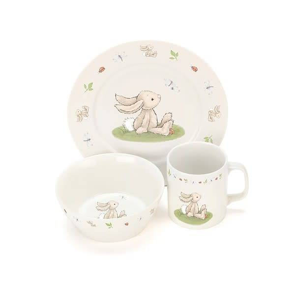 Jellycat jellycat bashful bunny bowl, cup + plate boxed china set