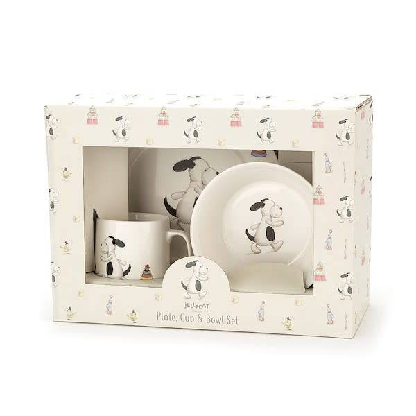 Jellycat jellycat bashful puppy bowl, cup + plate boxed china set