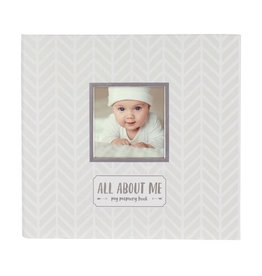 Pearhead pearhead all about me baby memory book + sticker set - white/grey