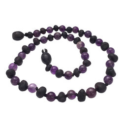 Momma Goose momma goose raw cherry amber + amethyst baby necklace