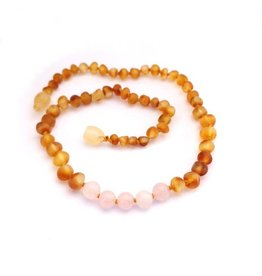 Momma Goose momma goose amber + gemstone baby necklace - raw honey/rose quartz